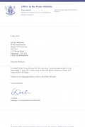 Letter from Prime Ministers Office New Zealand 2015.jpg