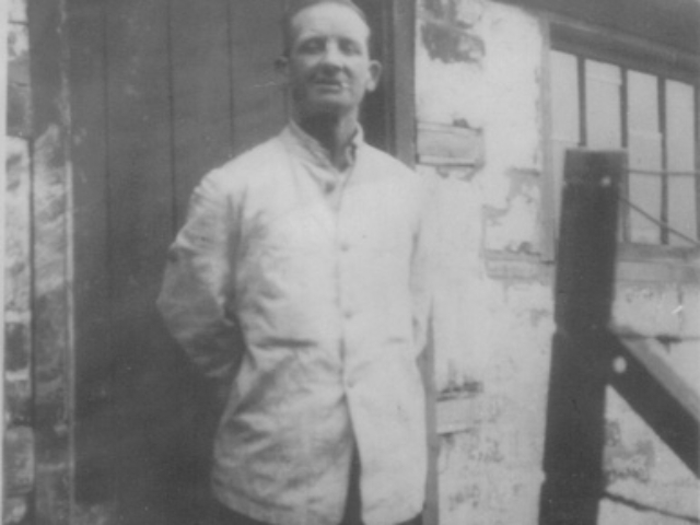 Billy Polsin in shed at bottom of Garden at North Esk Road,