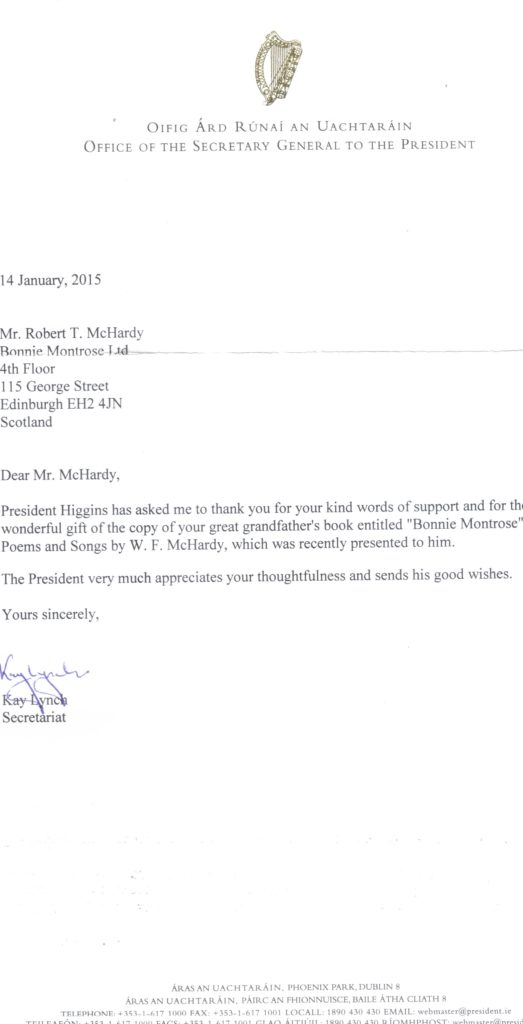 Reply from President Higgins of Ireland